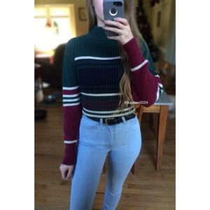 🍂 Vintage 90's Chunky Knit Striped Turtleneck 🍂